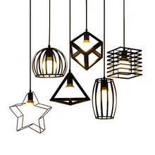Nordic Kitchen Pendant Lights White Black Metal Cage Lampshade Dining Room E27 LED Ceiling Hanging Lamp for Home Living Room Bar