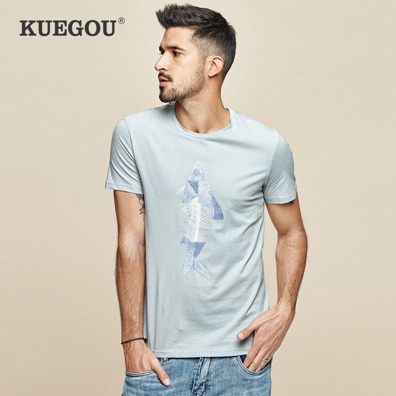 KUEGOU 2020 Brand Men's Short Sleeve T-shirt Summer  Joker  Leisure Fashion Round Collar Printed Elastic Blue T Shirt LT-1778