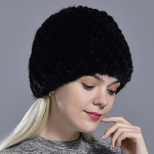 winter womens mink fur hats natural real fur knitted cap fashionable fluffy ladi