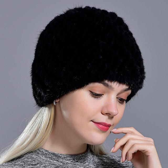 winter womens mink fur hats natural real fur knitted cap fashionable fluffy ladies genuine fur beanie female black fur caps