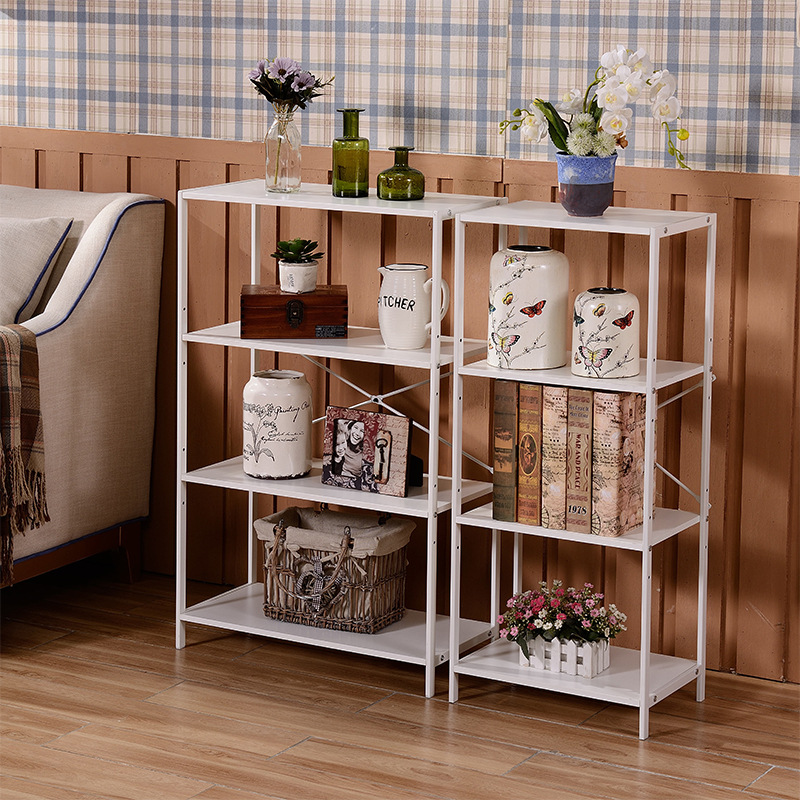 Steel Wood Simple Bookcase Living Room Storage Shelf Multi-functional Fashion Home Wooden Display Stand Library Magazine Storage