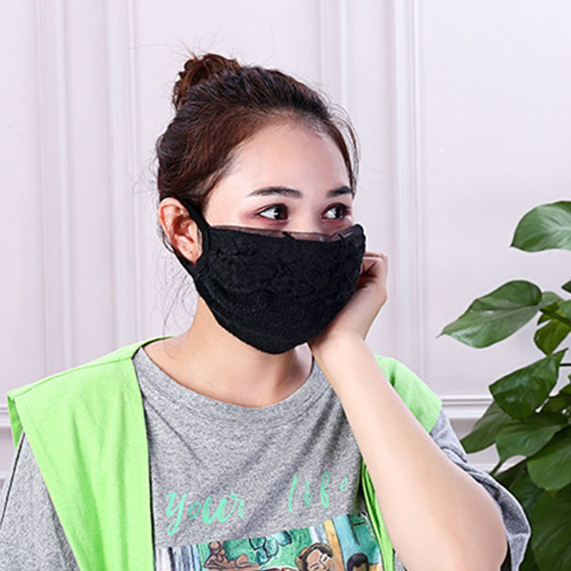 Women Girl Winter Thicken Warm Mouth Mask Floral Lace Anti Dust PM2.5 Respirator 95AB