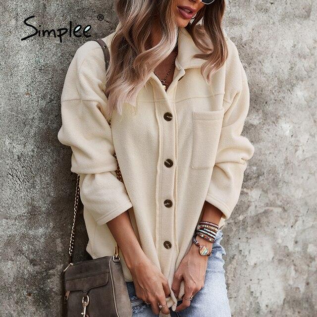Simplee Shirt Collar Winter Autumn Sheepskin Coat Casual Long Sleeves Button Short Jackets Fashion Office Lady Women Outwear 2
