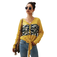 Women's long sleeve sweater 2019 winter top V-neck sweater women thin ladies casual button front knit sweater Camouflage coat