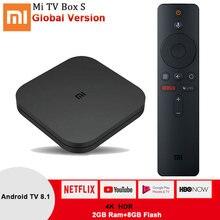 Xiaomi Mi Box S Smart Android tv 8,1 4K HDR четырехъядерный 2,4G/5,8G wifi Google Cast Netflix телеприставка 4 медиаплеер