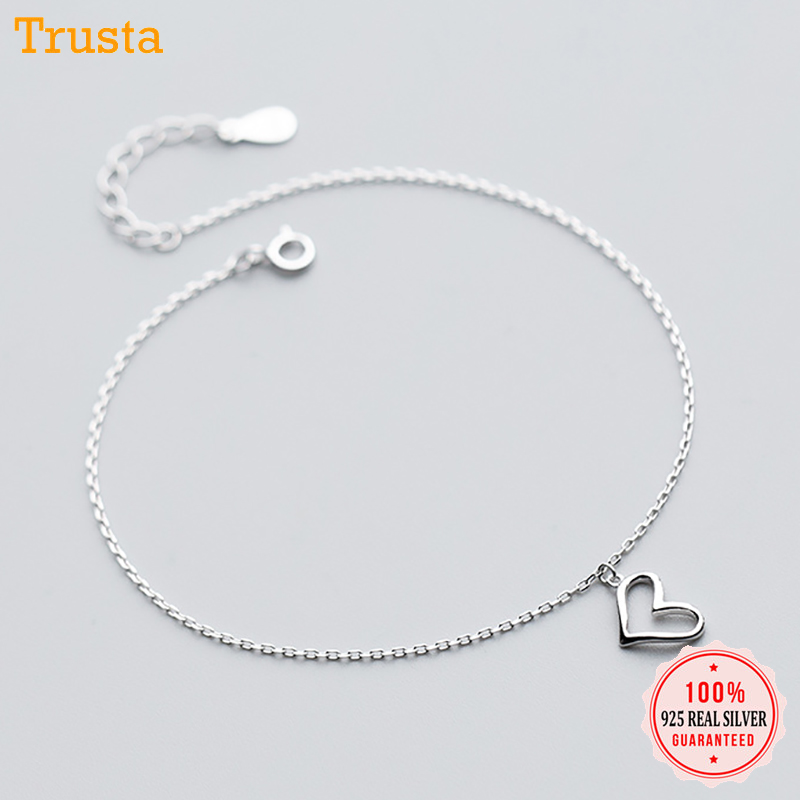 Trustdavis Minimalist 925 Sterling Silver Anklets Women's Fashion 925 Jewelry Heart Pendant 20cm Chain For Gift Girl Lady DS1416