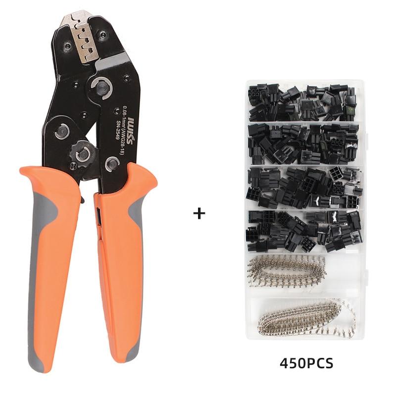 Обжимные гнездовые клеммы, 400 шт., штырьковый разъем + 50 шт. 5557 8(6 + 2)P ATX EOS в пластиковой коробке + инструмент для щипцов sn2549