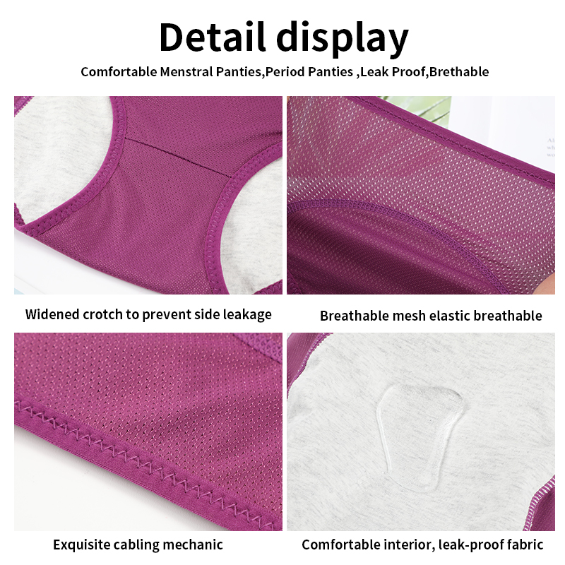 Leak Proof Plus Size Menstrual Panties Physiological Pants Women Underwear Period Waterproof Mid-Rise Briefs Female Lingerie