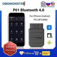 Pic18f25k80 leitor de código bluetooth automotivo v1.5 android faslink obd2 scanner elm327 diagnóstico para o carro de iphone