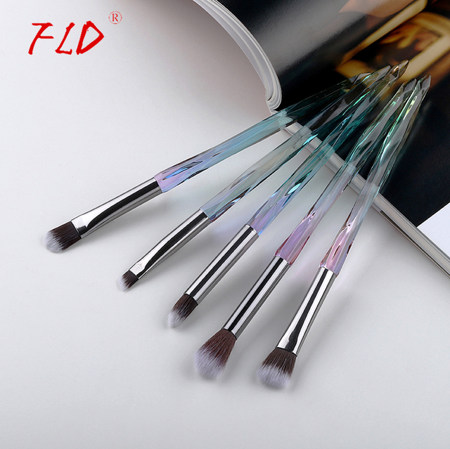 FLD 5Pcs Eye Brush Mini Diamond Makeup Brush Set Eye Shadow Lip Eyebrow Brushes High Quality Professional Lip Eyeliner Tools 2