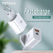 Totu carregador rápido usb 18w eu uk, qc3.0 pd para iphone x xs 11 samsung s10 xiaomi mi9 adaptador de parede para casa e escritório