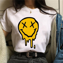 Water drop smiley Fashion t shirt women Harajuku funny I am Cool girl face T-shirt Colorful smile Tees Enjoy music graphic Tops