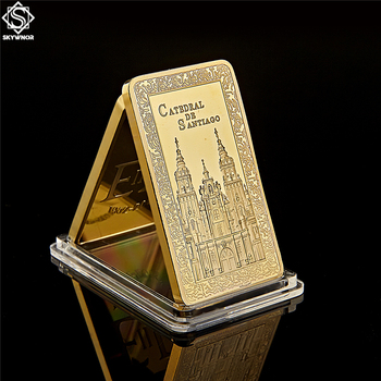 Collectible Spain Camino De Santiago Cathedral Christian Replica Bullion Gold Bar Souvenir Coins image