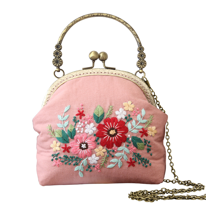 3D DIY Ribbon Embroidery Bag Set, Needlework Kits Cross Stitch Chain Bag with Hoop,Handmade Swing Purse Wallet Creative Gift|Embroidery|   - AliExpress