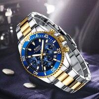 Lüks Rolexable erkek saatler spor Chronograph su geçirmez Analog 24 saat tarih quartz saat erkekler tam çelik bilek saatler saat