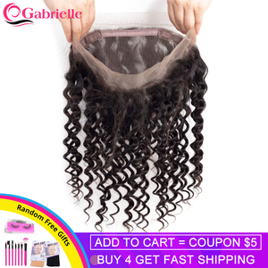 Deep Wave 360 Lace Frontal Closure Brazilian Human Hair Frontal Natural Color Swiss Lace 130% Density Remy Hair Gabrielle