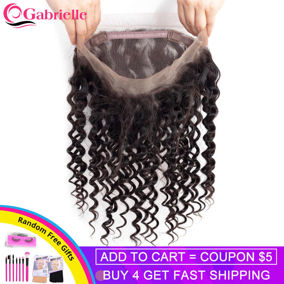 Gabrielle Brazilian Human Hair Deep Wave 360 Frontal Closure Remy Hair Frontal Swiss Lace 8-22 inch 130% Density