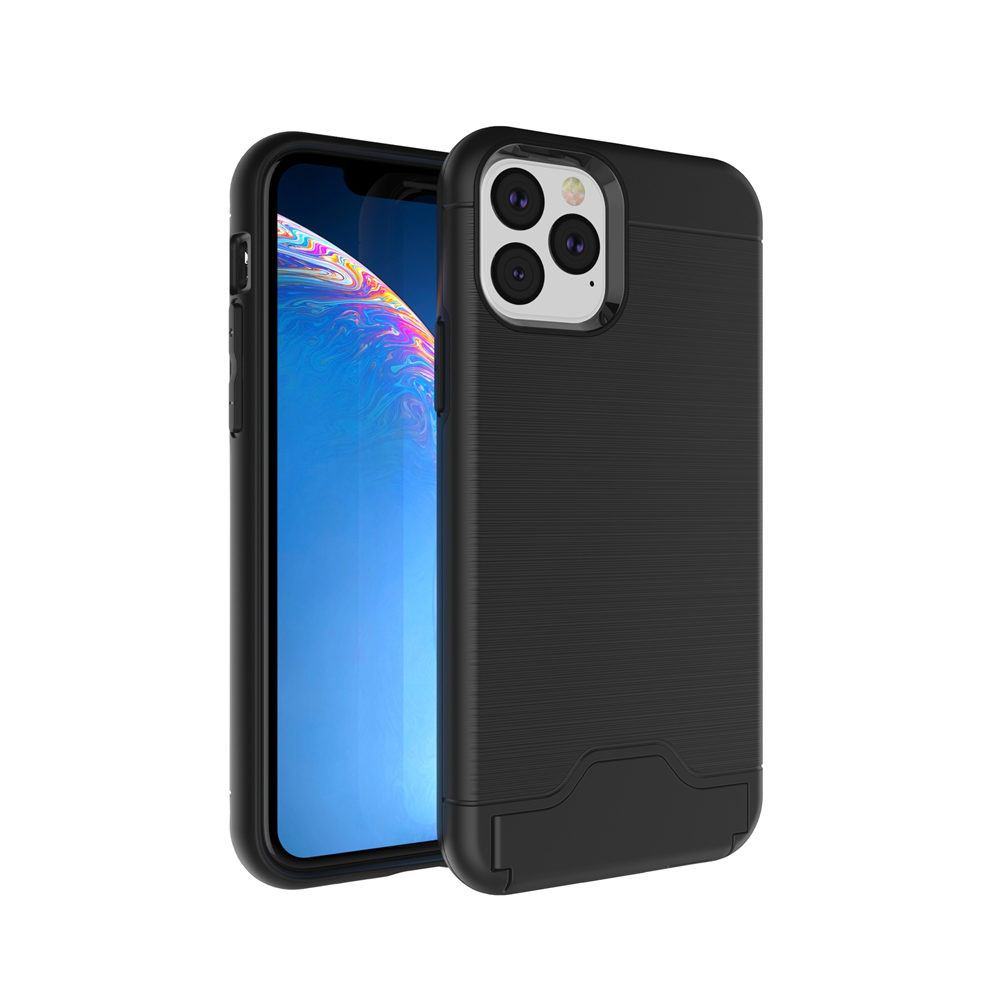 Brushed Armor Card Holder Case for iPhone 11/11 Pro/11 Pro Max 8
