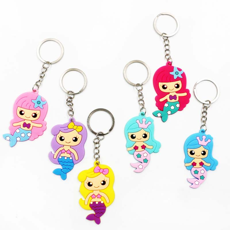 6pcs/set Mermaid Keychain Mermaid Party Supplies Baby Shower Happy Birthday Party Decorations Kids Girls Gift Event Party Favors