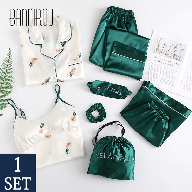 7 Pcs Women's Pajamas Sets Stain Emulation Silk Printed Women Sleepwear Sets Spring Summer Autumn Homewear Woman Pyjamas Sets