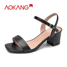 AOKANG 2020 Summer Sandals Women high heels square heels women shoes Buckle Strap Sandals Ladies Solid Shoes Women summer women sandals shoes genuine leather flock nubuck pearl buckle strap solid fashion sweet casual princess square high heels