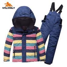 2019 New Kids Ski Suit Snowsuit Winter Children Boys Girls Sets Jacket + Pants Warm Outdoor Waterproof Windproof -30C