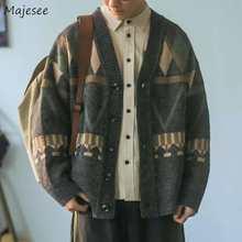 Erkek hırka sonbahar erkek dış giyim erkek kazak v yaka Argyle Retro japon moda tüm maç rahat rahat Ulzzang tiki şık ins