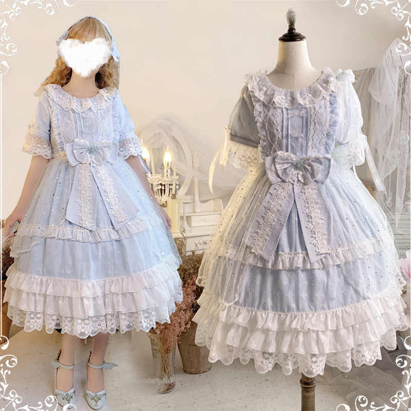 Palace princess daily sweet lolita dress vintage lace bowknot o-neck high waist victorian dress kawaii girl gothic lolita op cos