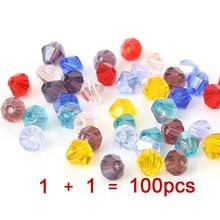 Compre 1 e obter 1 livre 4mm pequenos grânulos soltos de vidro para fazer jóias needlework quadrado contas de cristal austríaco beadwork diy 100 pc