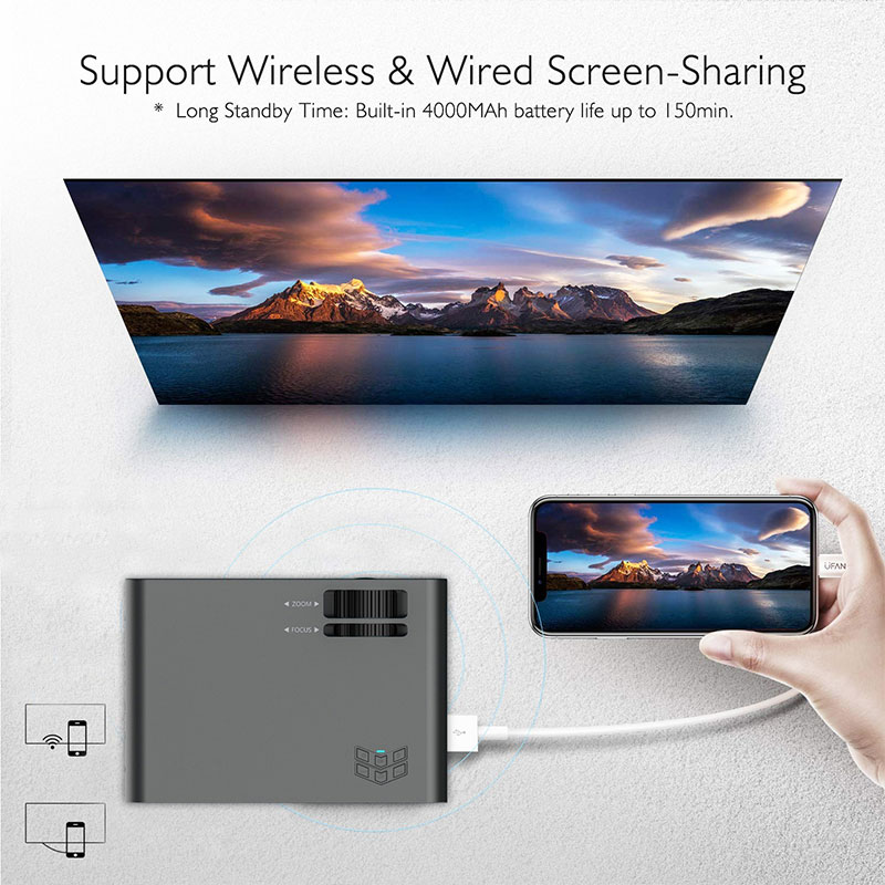 W80 HD Home Projector HDMI/AV/USB/SD/VGA Support Dolby Sound Basic Edition Euro Regulation Support 4K video BeamerFul Lumens HD - 2