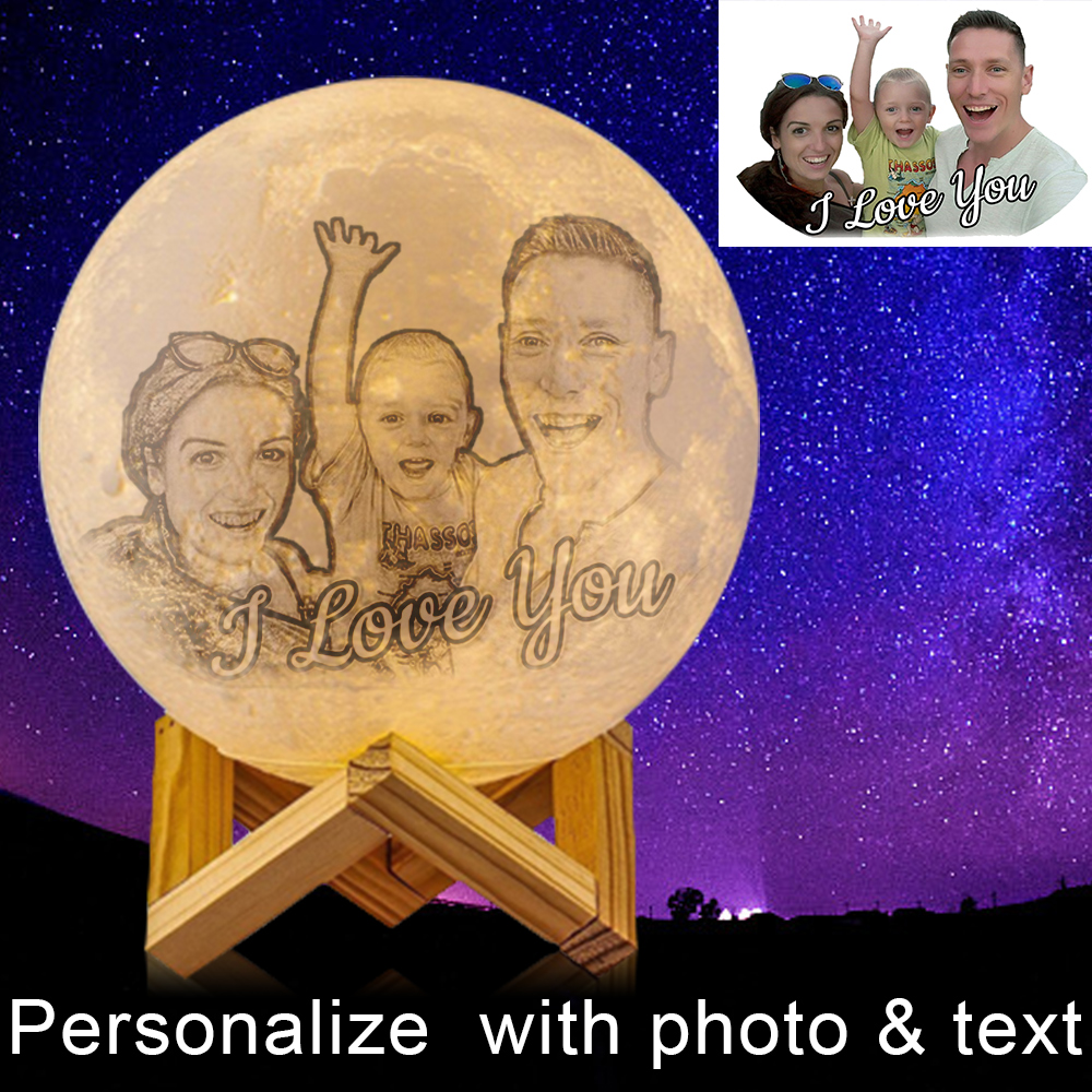 Novelty 3D Printing Customized Moon Lamp personalized moon lamp USB Charging Night Light for Christmas girlfriend Gift boyfriend image
