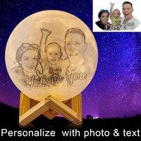 Novidade 3d impressão personalizado lua lâmpada personalizada lâmpada de carregamento usb luz da noite para o natal namorada presente namorado|Luzes noturnas| |  -