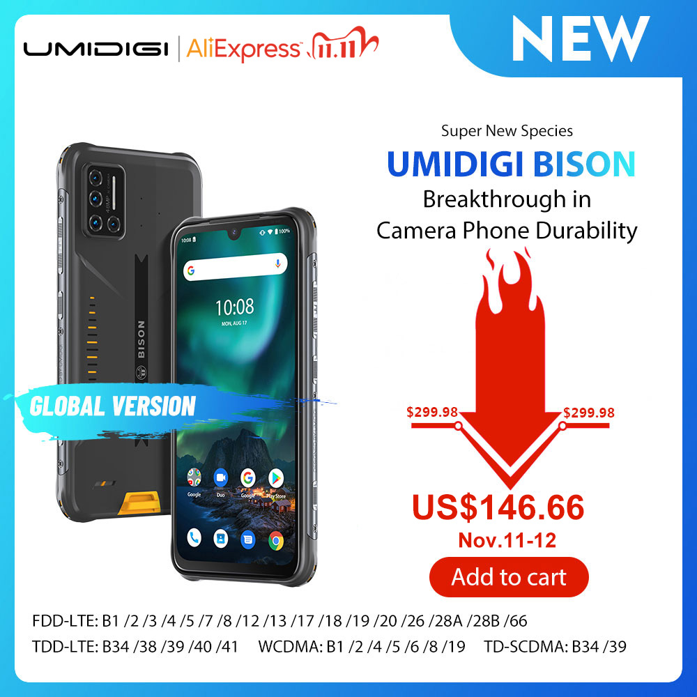 "UMIDIGI BISON IP68/IP69K Waterproof Rugged Phone 48MP Matrix Quad Camera 6.3"" FHD+ Display 6GB+128GB NFC Android 10 Smartphone