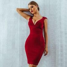 Seamyla Nuovi Arrivi di Estate Donne Sexy Del Vestito Dalla Fasciatura 2019 con Scollo a V Rosso Nero di Un Personaggio Famoso Vestiti da Partito Aderente Abiti Clubwear
