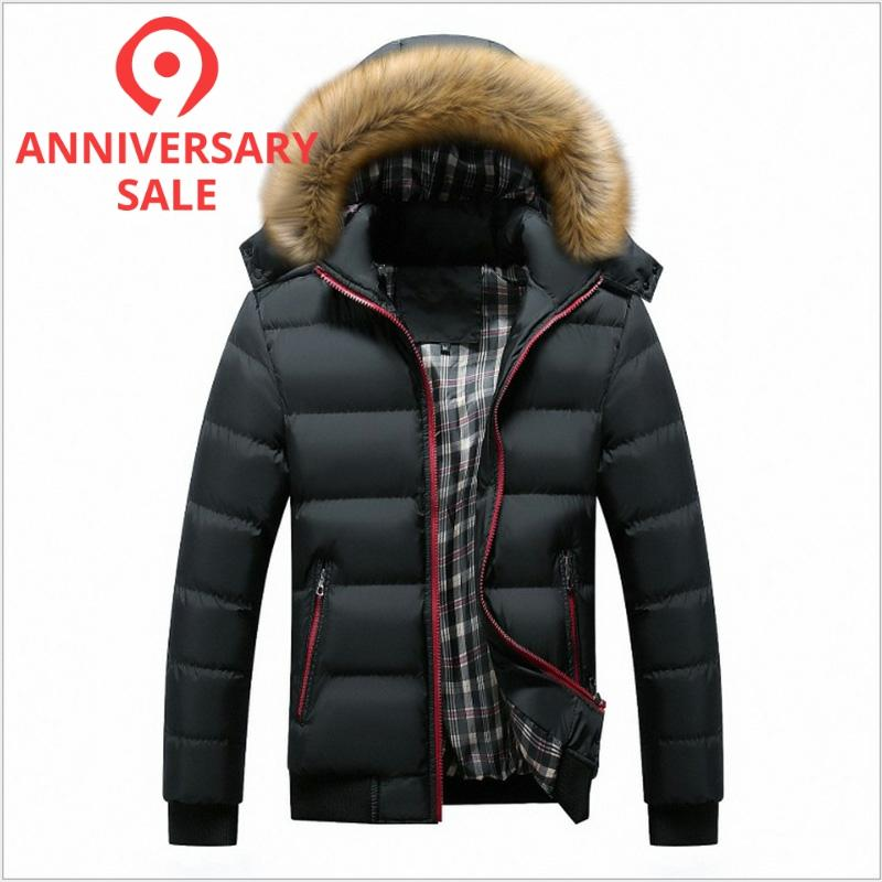 FALIZA New Winter Men's Jackets Thick Hooded Fur Collar Parka Men Outwear Coat Casual Patchwork Padded Mens Jacket Plus 7xl MY20