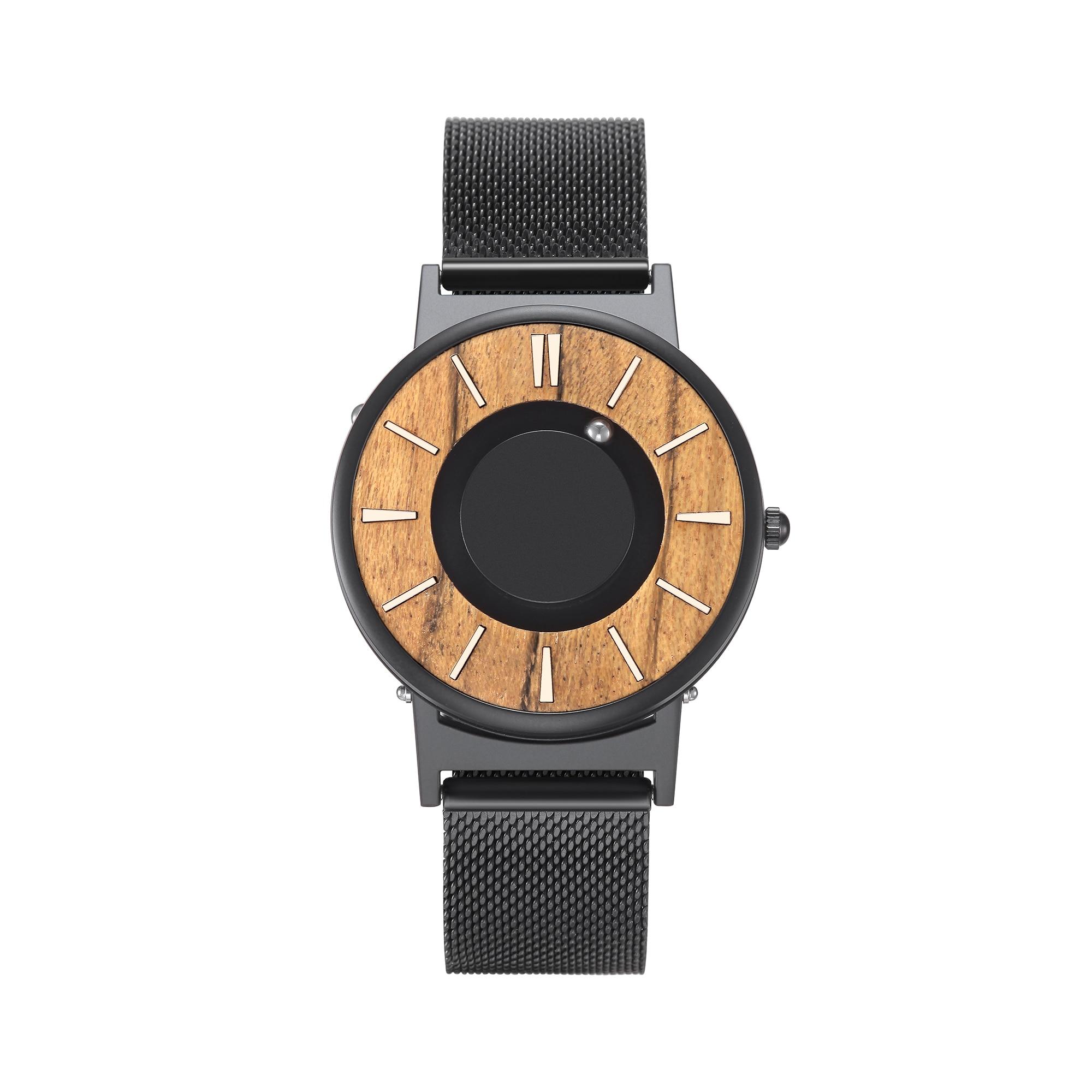 EUTOUR aimant montres 2019 hommes montre femmes montres quartz pour mode décontractée montre Simple hommes minimaliste en bois cadran