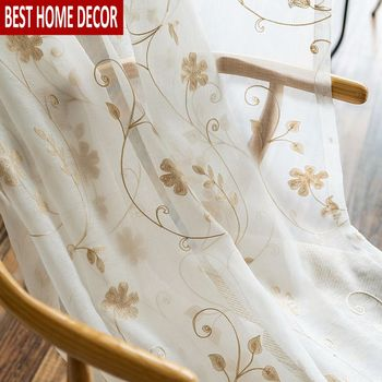 Floral Embroidered Tulle Sheer Window Curtains for Living room the Bedroom Kitchen Voile curtains for window fabric blinds Door beige polyester flannel europe embroidered blackout curtains for living room bedroom window tulle curtains home hotel villa