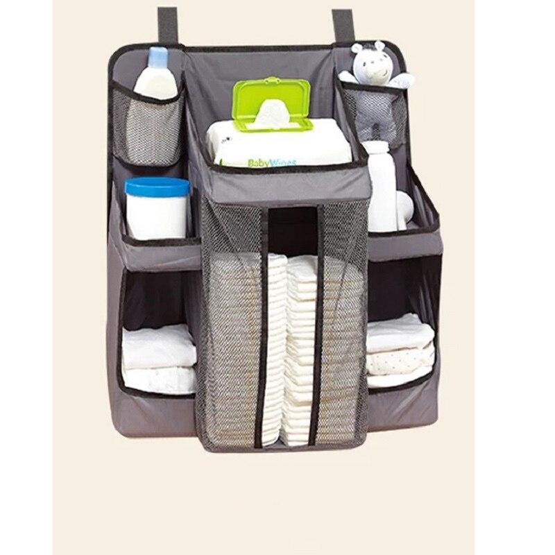 Berço do bebê saco de armazenamento de cabeceira caixa de armazenamento rack de fraldas saco de suspensão multifuncional cuidados com o bebê caso de classificação