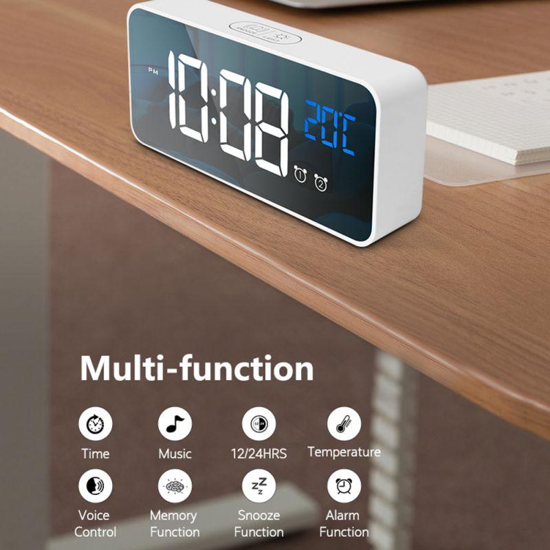Réveil USB LED durables réveils numériques contrôle vocal Intelligent affichage de la température horloges électroniques décoration de la maison - 2