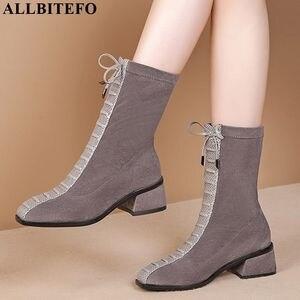 Image 1 - ALLBITEFO hot sale genuine leather+Elastic flock Square toe women boots Frenulum ankle boots Autumn Winter Classic fashion boots