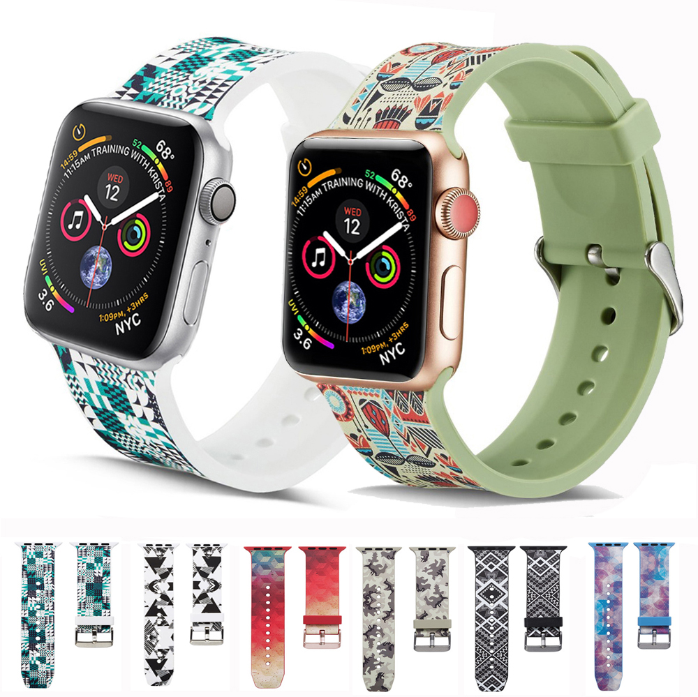 Sport Silicone Strap For Apple Watch Band 4 5 44mm 40mm  Iwatch Series 3 2 1 42mm 38mm Printing Bracelet Watchband Accessories