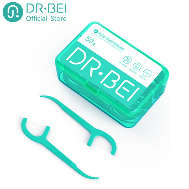 DR.Bei Dental Floss Portable Picks Teeth Flosser Toothpicks Stick Oral Care 50pcs/box Teeth Pick Hygiene Cleaning 50m/pcs Xiami