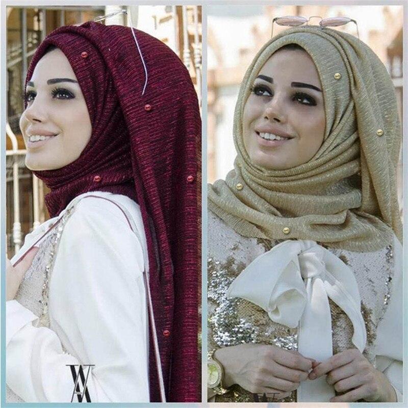 75*180cm Stretchy Gold Yarn Islamic Scarfs Muslim Beading Hijab Scarf With Pearls Foulard Femme Musulman Arab Headscarf
