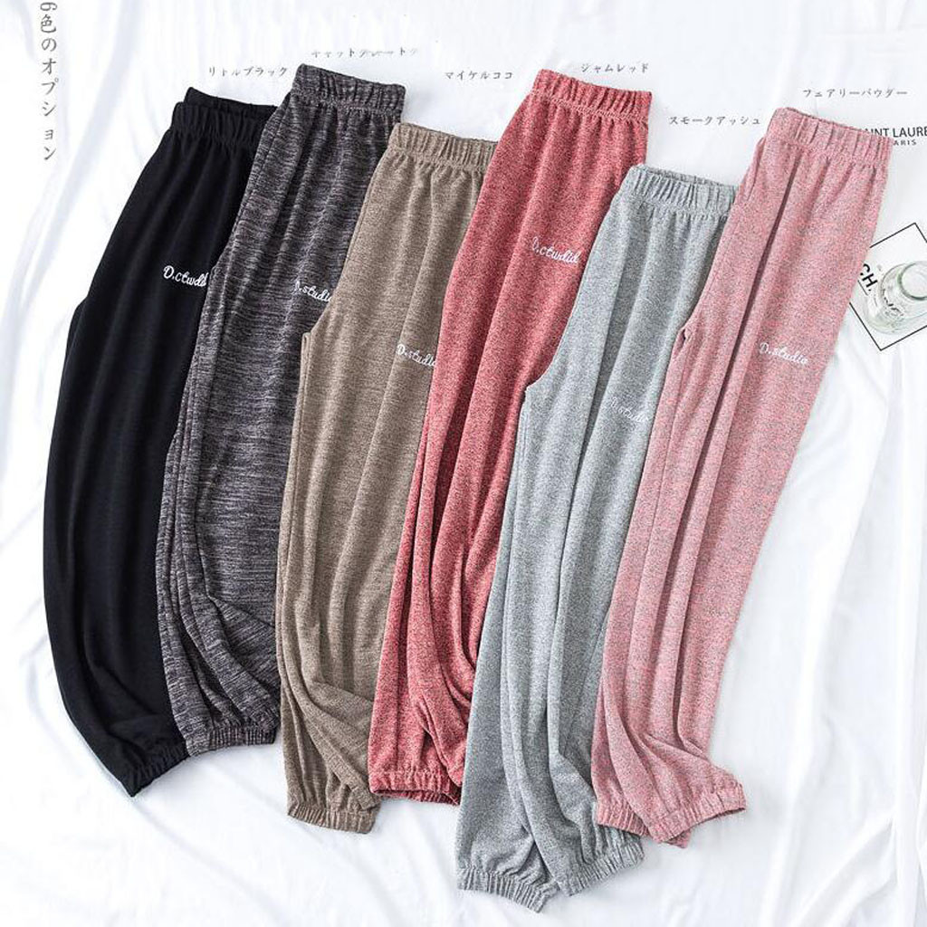 Soft Comfort Women Casual Loose Ankle-Length Sleep Pants Lounge At Home Pants Women Mid Waist Elastic Harem Pants Outwear Z0923
