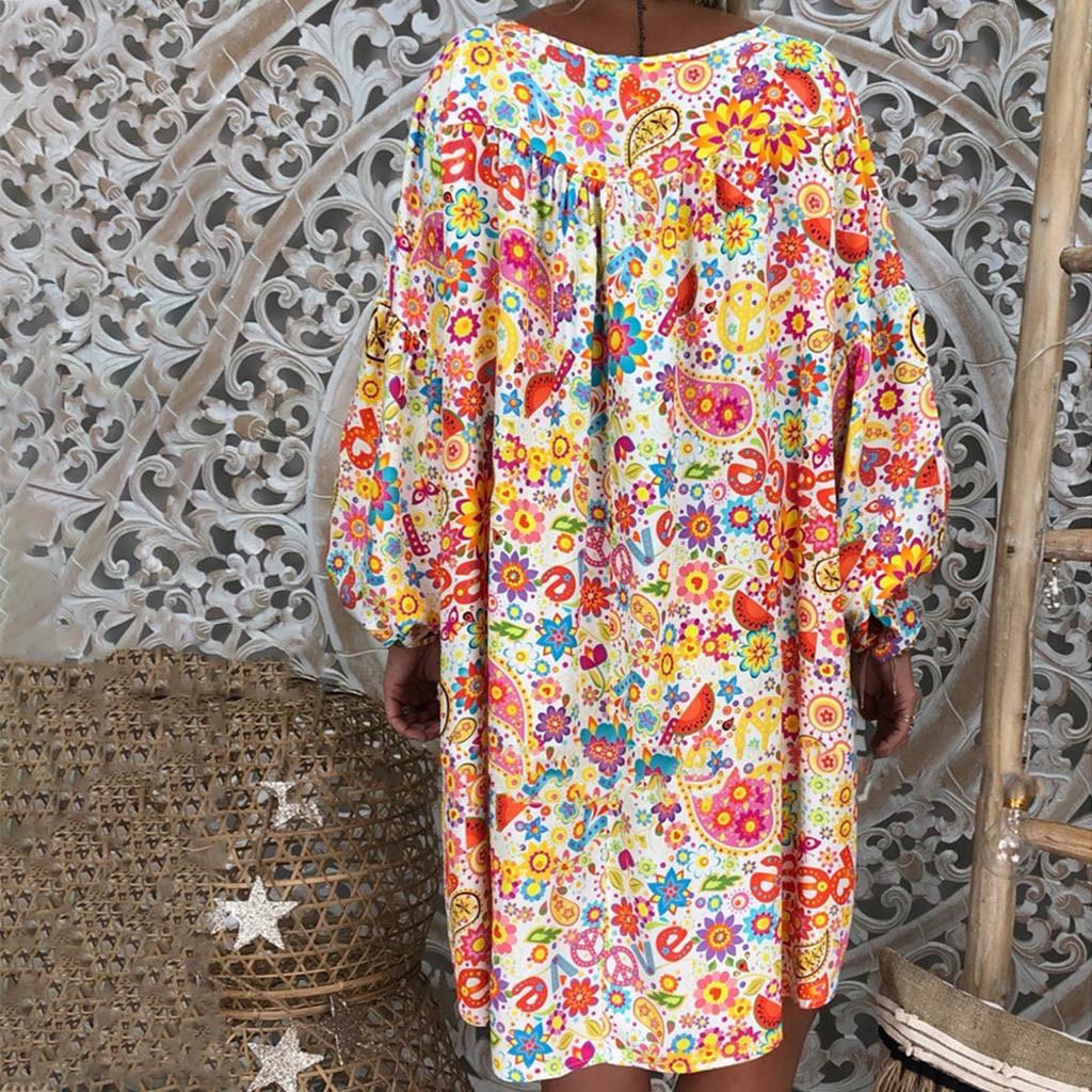 XL Plus Size Dress women Loose Print Short Sleeve Mini Sundress Summer Dress Ruffle Boho Floral