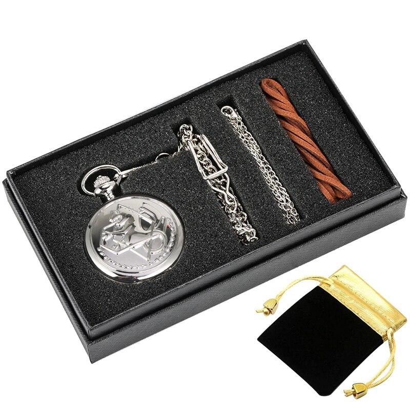 5pcs/set Fullmetal Alchemist Silver Watch Pendant Men's Quartz Pocket Watch Japan Anime Necklace Fob Clock High Grade Gifts Sets