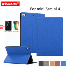 купить For Apple ipad mini 5 2019 case linen grain PU leather Stand Protective Case auto sleep TPU Cover for ipad mini 4 Coque para дешево
