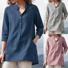 Women's blouses spring autumn tops leisure white shirts button v neck cardigan t