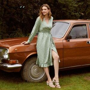 Simplee Polka dot elegante frauen kleid langarm vintage grün party kleid V-ausschnitt schärpe streetwear wrap 2020 vestido arbeit tragen