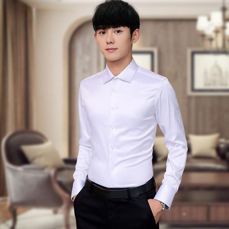 Plus Size 5XL 2020 New Men's Luxury Shirts Wedding Party Dress Long Sleeve Shirt Silk Tuxedo Shirt Men Mercerized Cotton Shirt
